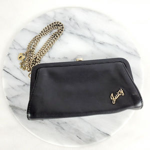 Juicy Couture Leather Clutch Wristlet Chain Charms